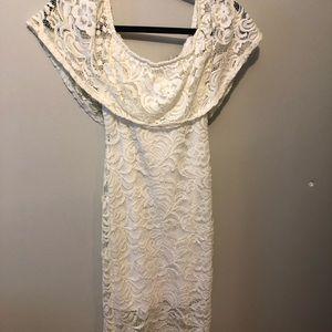 Flower white lace dress